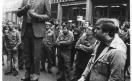 Sciopero dei lavoratori della Breda - Comizio davanti alla sede dell'Intersind - Antonio Pizzinato al microfono_1977