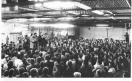 Fabbrica Alfa Romeo di Arese - Assemblea dei lavoratori contro l'attentato terroristico alla Dellera -Antonio Pizzinato al microfono_1980